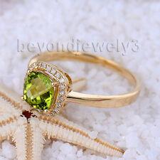 Real 14K Yellow Gold Engagement Natural Diamond Cushion 6mm Peridot Gem Ring