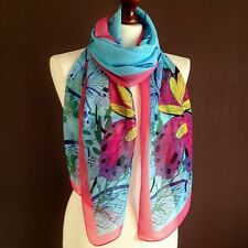 LONG LADIES SOFT BUTTERFLY PRINT FASHION SCARF BLUE/PINK BRAND NEW SILK-VISCOSE