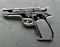 SMITH & WESSON BLACK PISTOL GUN NOVELTY LAPEL PIN BADGE 1 INCH