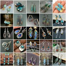 Multi-Color Gemstone Women 925 Silver Ear Hook Drop Dangle Earrings Chic Jewelry