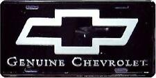 GENUINE CHEVROLET LICENSE PLATE CHEVY BLACK SILVER BOW TIE SIGN Made in the USA