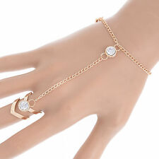 Gold Glitter Rhinestone Hand Harness Bracelet Slave Chain Link Finger Ring NEW