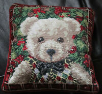 "10"" SQ Handmade Embroidered Wool Needlepoint Pillow Christmas Bear Petite Point"