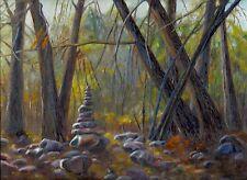 "Original Landscape Oil Painting 9x12in ""Trail Mark (1)"" Artist Signed, Framed"