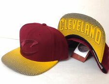 $32 CLEVELAND CAVALIERS SNAPBACK HAT Mitchell&Ness STRIPED BRIM Big C Logo Mens