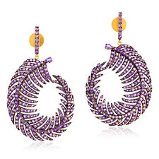 Sterling Silver 6.76ct Amethyst Gemstone Antique Feather Dangle Earrings Gold