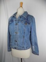 Baccini women's Large blue jean denim Distress button jacket