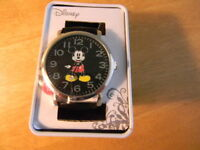 Disney's Mickey Mouse Women's Watch Ladies Black Leather Band - NWT