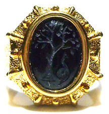 "18K YELLOW GOLD DESIGNER ""B"" ITALY CARVED ONYX INTAGLIO GREEK ROMAN SHIELD RING"