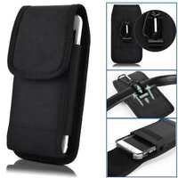 For Consumer Cellular ZTE ZMax 10 Phone Case Belt Pouch Holster with Clip Black
