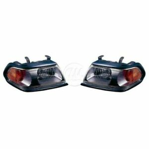 Headlights Headlamps w/ Black Bezel LH & RH Pair Set for 00-04 Montero Sport