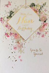 NAN TRADITIONAL FLOWERS BIRTHDAY CARD