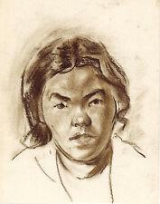 1960's album page WOMAN'S PORTRAIT by U/K Soviet Russian artist