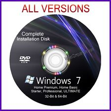 Windows 7 32 & 64 bit All Versions install reinstall recovery DVD Disc Support