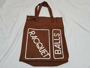 Vintage 1970s 70s Brown Racquetball Racquet Balls Pocket Purse Tote Gym Bag