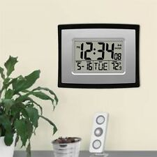 Self Setting Digital LCD Home Office Decor Wall Clock Indoor Temperature GTU@