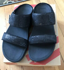 NEW WOMEN'S FitFlop LULU SUPERGLITZ SLIDE SANDALS,SIZE 8,BLACK SPARKLE