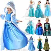 Kid Girl Frozen Princess Elsa & Anna Costume Cosplay Disney Party Fancy Dress