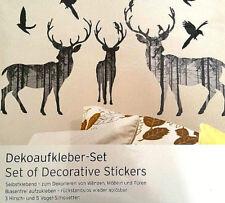 Dekoaufkleber Wandtattoo 3 Hirsche & Vögel Deko Set Neu