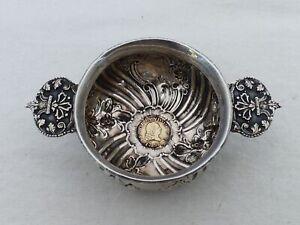 Rare Antique Silver Tastevin with a 1756 1/2 Escudo Gold Coin MW-8