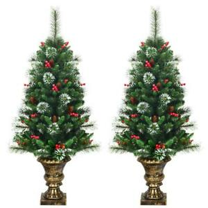 Set of 2 Snowy Entrance Tree 4ft with Pine Cones Red Berries & Glitter Branches