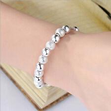 LD_ Fashion Women Silver Plated Beaded Bangle Lucky Bracelet Jewelry Gift Myst