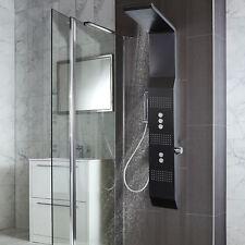 220 mm (W) x 1580 mm (H) in acciaio inox quadrato & Nero Colonna doccia termostatica