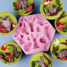 3D Animals Owl Wolf Rabbit Squirrel Silicone Cake Molds Leaf Fondant Icing Mould