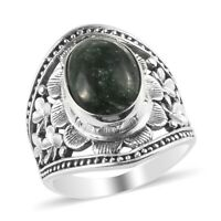 Platinum Over 925 Sterling Silver Seraphinite Solitaire Ring Gift Size 8 Ct 8.4
