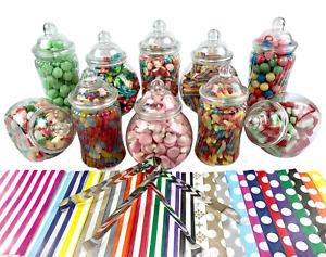 10 Jar Small Spiral Plastic Candy Jar Sweet Buffet Kit 2 x Tongs 50 x Candy Bags