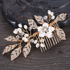 Wedding Bridal Party Gold Plated Crystal Leaves Faux Pearl Flower Hair Clip Comb