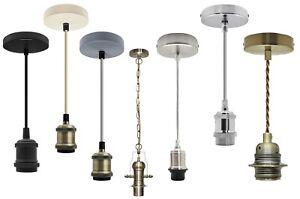 Ceiling Rose Flex Hanging Brass Chrome Black Pendant Lamp Holder Light Kit