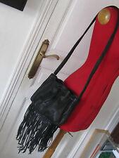 très joli sac seau MAJE  à franges cuir noir handbag