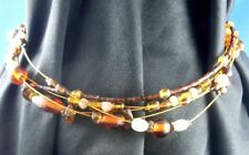 Nice AMBER GLASS BEADED MULTI-STRAND (Vintage Beads) Fashion Necklace Accessory