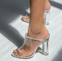 Women Ladies Peep Toe White Perspex Mules Clear High Block Heels Sandals Shoes