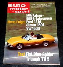 AMS 16/68 Test Fiat Dino Spider,Triumph TR 5 PI, VW 1500, Ford 15 M, Simca 1501