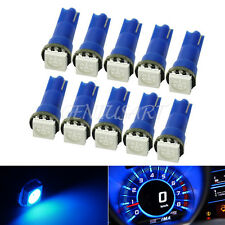 10x T5 5050 SMD 1LED Car Atmosphere Dashboard Blue Wedge Light Lamp Bulb