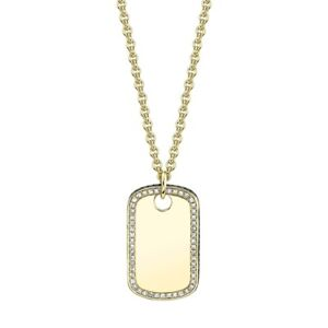 14K Yellow Gold Diamond Dog Tag Pendant Necklace Black White Natural Round Cut