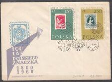 POLAND 1960 FDC SC#913a  zl 250 (no comma) Centenary of Polish stamps.