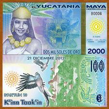 Maya, 2000  (2,000) Mil Soles De Oro, 2012, Polymer, UNC > Girl, Skull, Birds