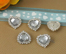 10 X Rhinestone Clear Acrylic Gem Silver Heart Button Embellishments DIY Jewelry