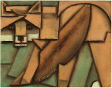 Fox Painting Animal Art Modern CUbist Decor Gift Wall Artwork Abstract Original