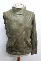 TED BAKER Ladies Green Leather Detachable Sleeve Gilet Jacket Size 3 UK12 NEW