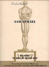"'58 RARE SAM SPIEGEL ""1957 BRIDGE ON THE RIVER KWAI"" 'Best Picture' THANKU AD"
