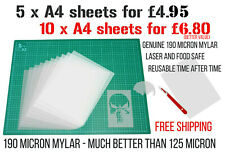 Mylar Stencil Sheets art airbrush craft 190 micron 5 x A4 food laser safe VALUE!