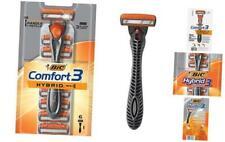 BIC Comfort 3 Hybrid Men's 3-Blade Disposable Razor, 1 1 Handle & 6 Cartridges