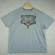"""SHATTERED BACKBOARD"" NIKE Dri-Fit Mens Gray Short Sleeve T-Shirt size 2XL"