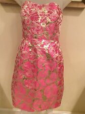 b3f30edb8ad Lilly Pulitzer Dress Pink and silver Floral Metallic Strapless Size 0 NWOT