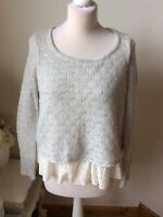 MINT VELVET Grey Ivory Lace Tie Back Round Neck Jumper Size 8 Long Sleeve