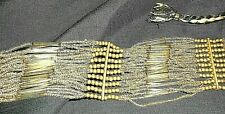 Beaded Flapper Necklace Scarf Belt Sash Rare~Vintage 50s? 60s? Micro Steel Glass